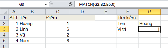 MATCH - function excel