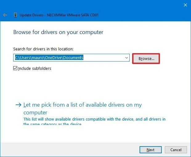duyệt file driver
